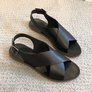 Madewell boardwalk cross leather sandals size 7.5